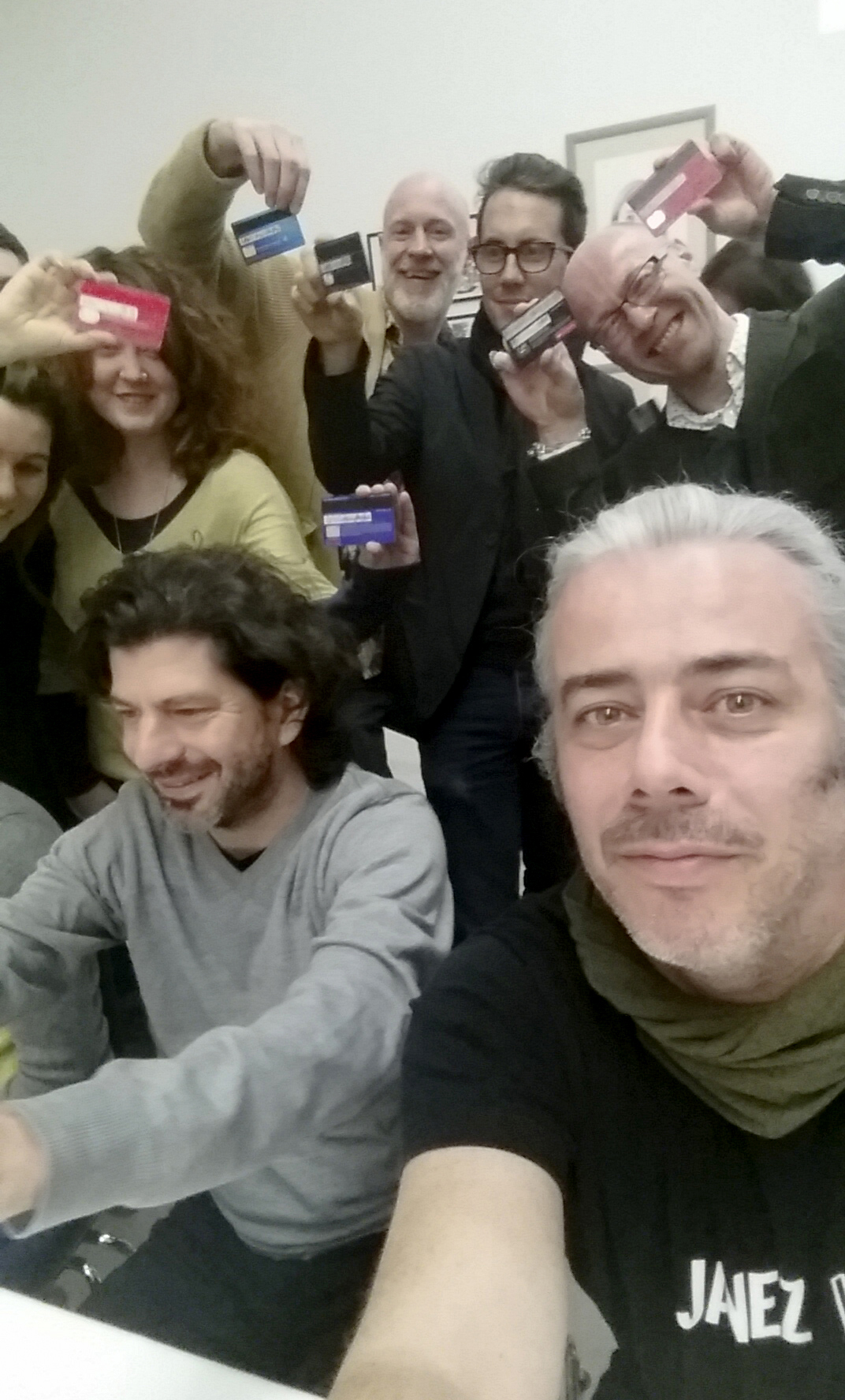 Group selfie with signed Credit Cards